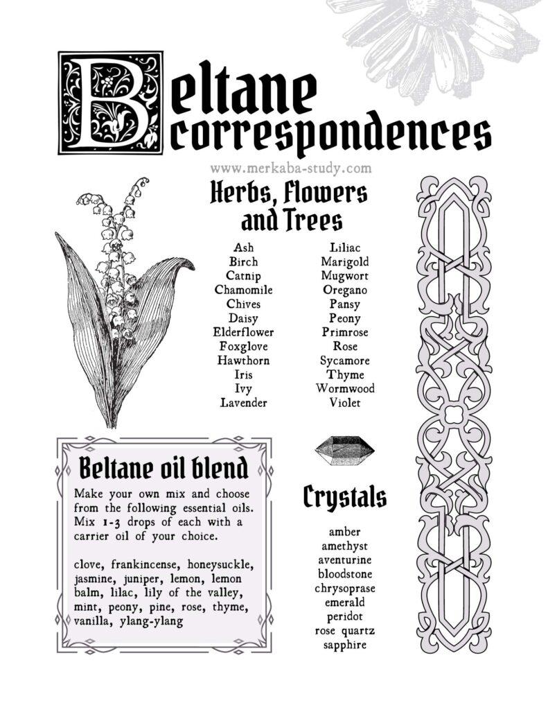 beltane correspondences free grimoire printable