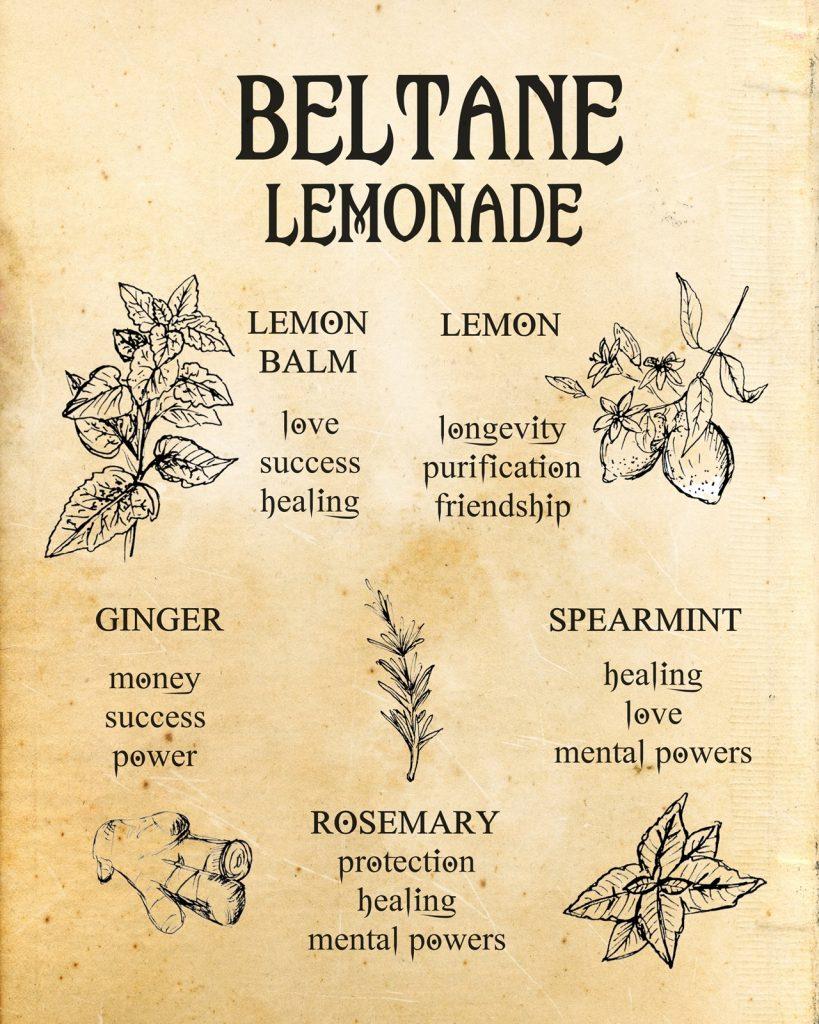 beltane lemonade recepie, lemon, ginger, lemon balm, rosemary, spearmint