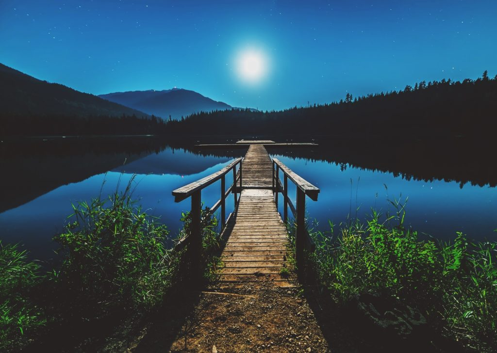 moon water and a bridge over lake