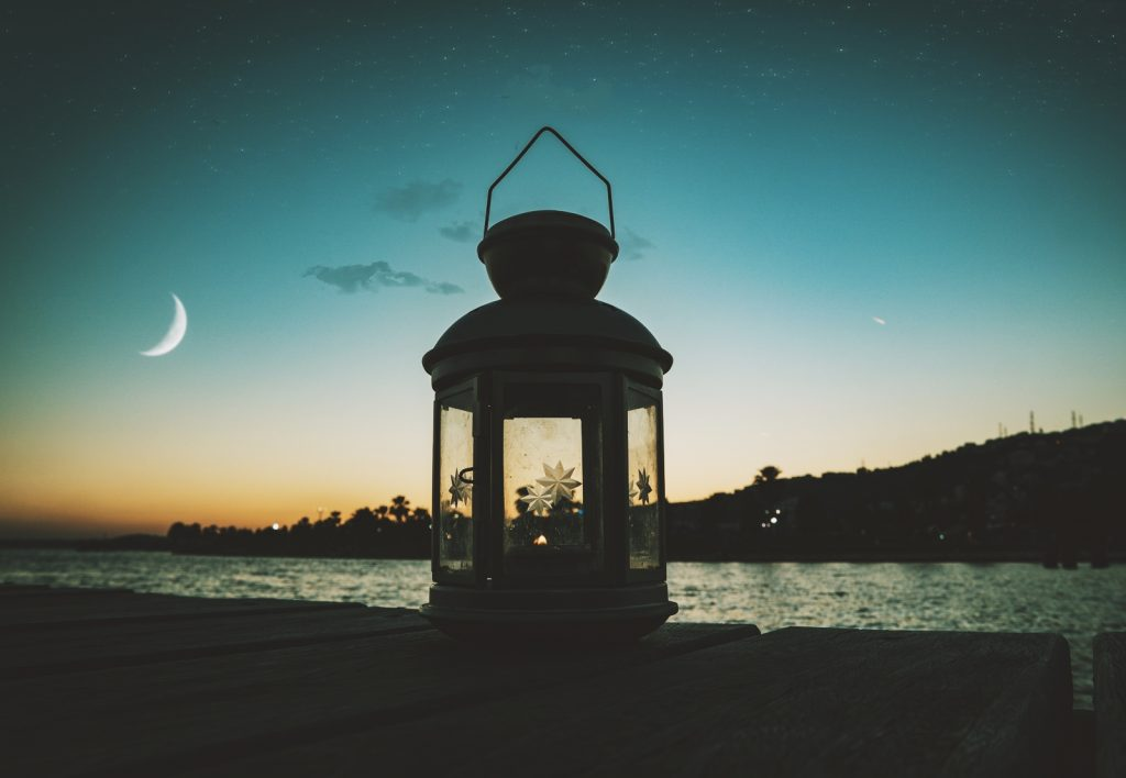 moon water and a lantern
