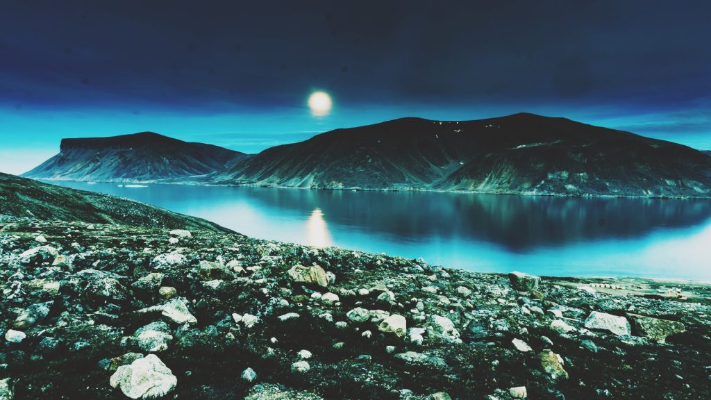 lake and the mountains, moon over water