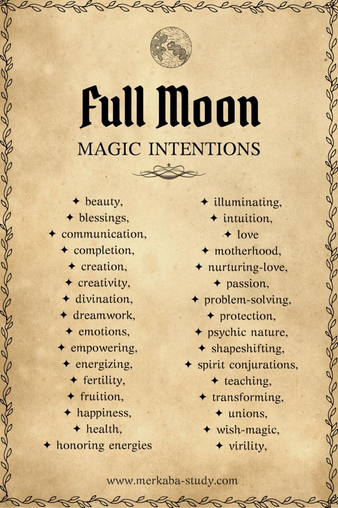 full Moon magic intentions merkaba study