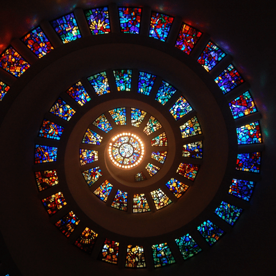 Image of the spiral made from stained glass
