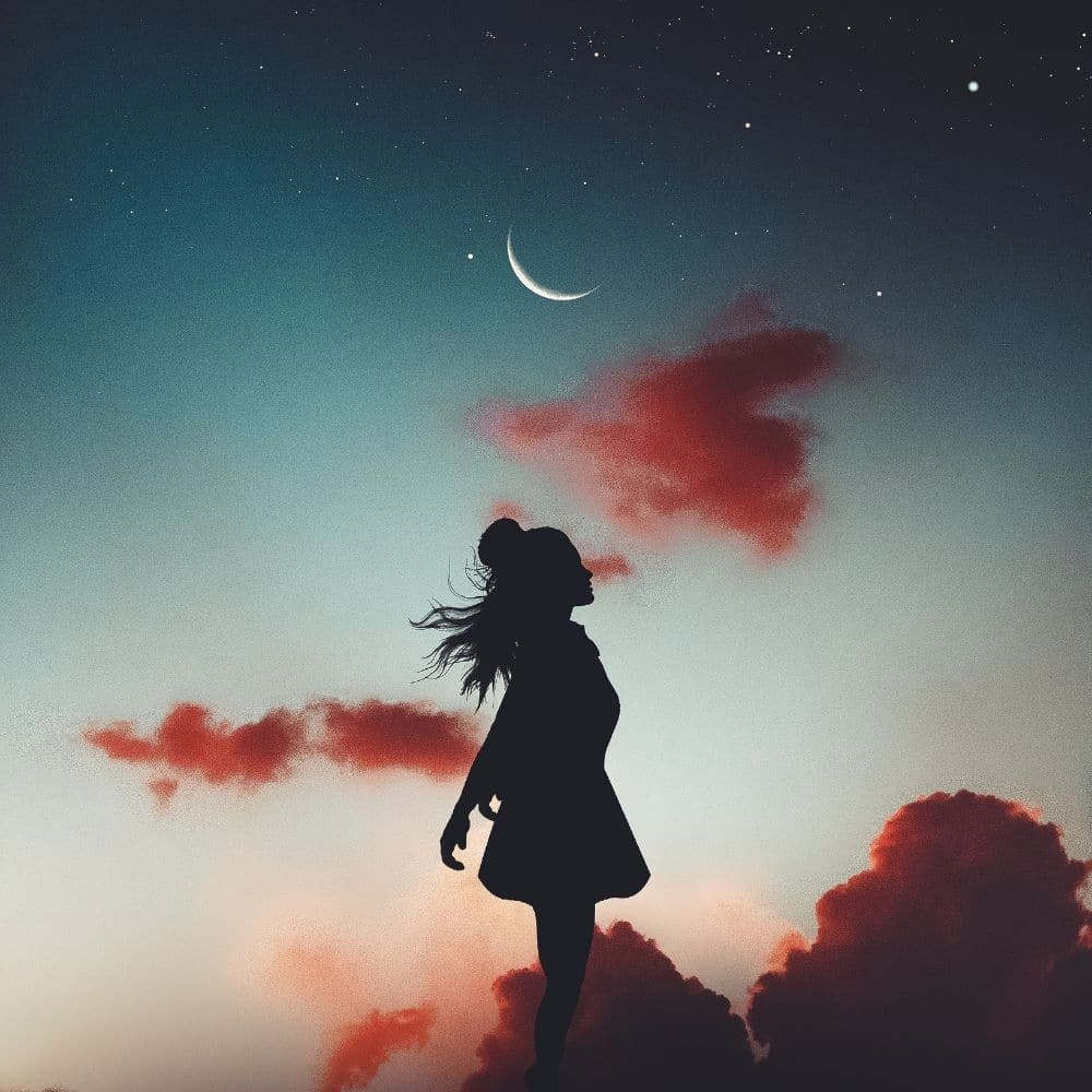 Photo of a girl under the Waxing Moon