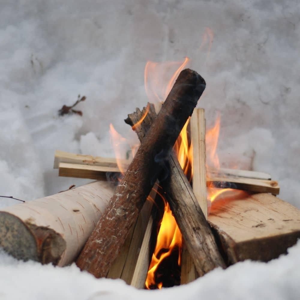 photo of a winter bonfire