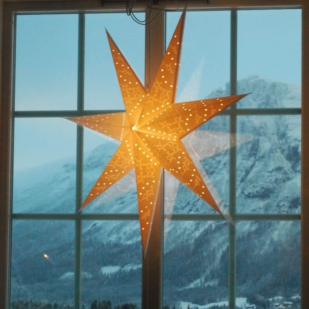 photo of a star decoration in a window