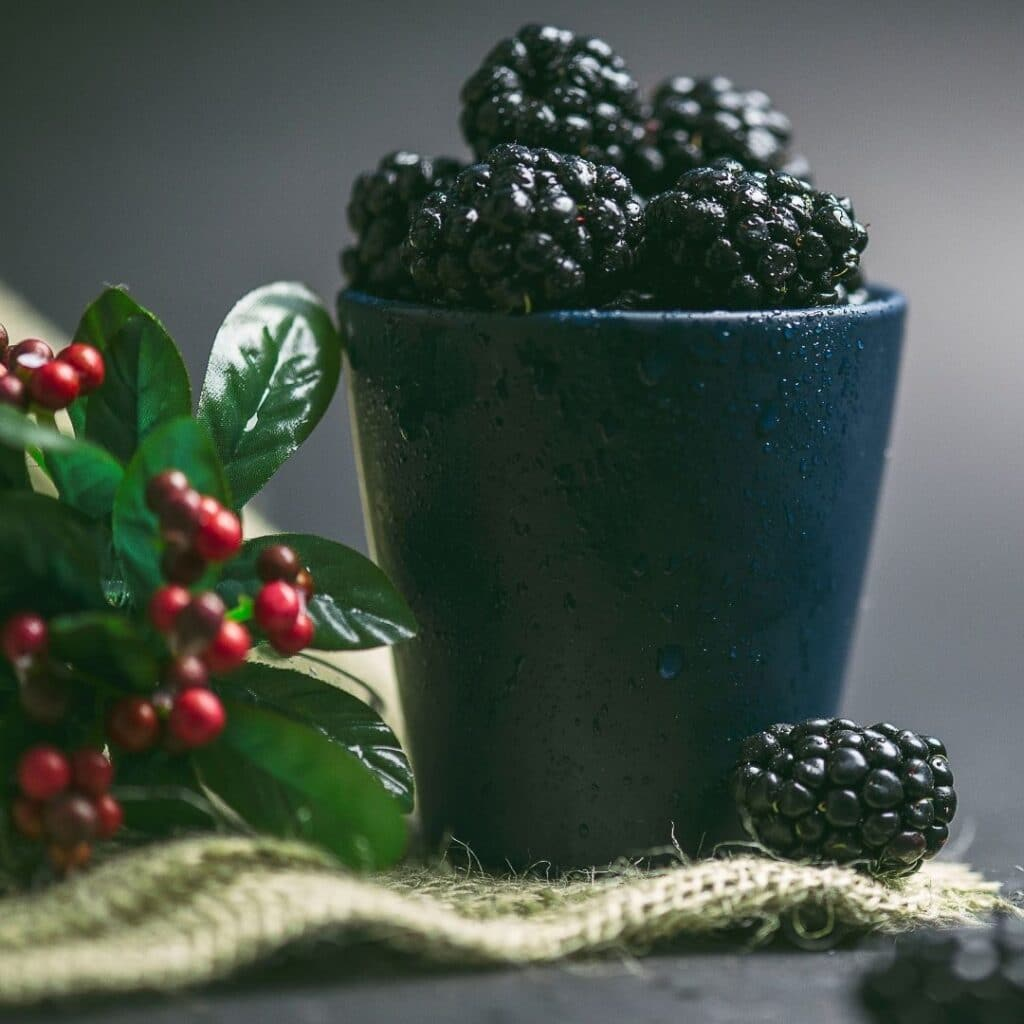 photo of a cup with blackberries