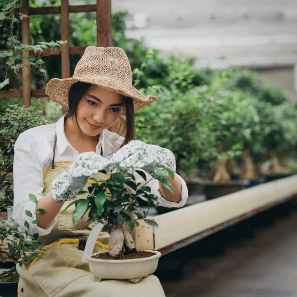 Photo of a gardening woman