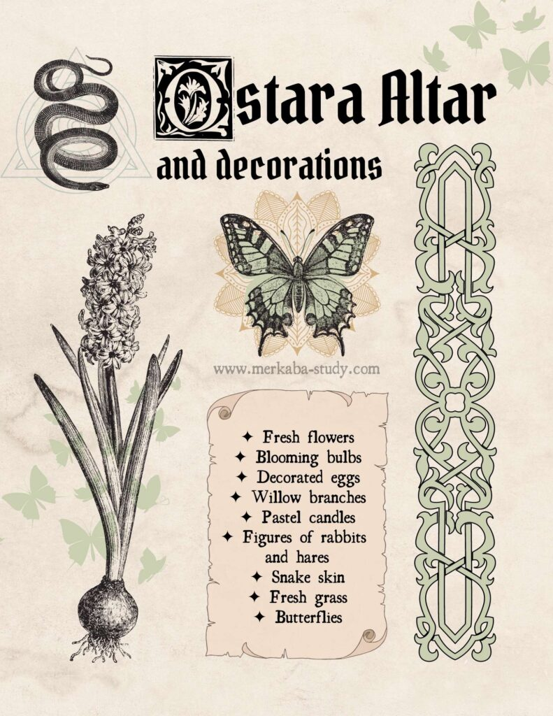 Ostara Altar and Decoration printable page