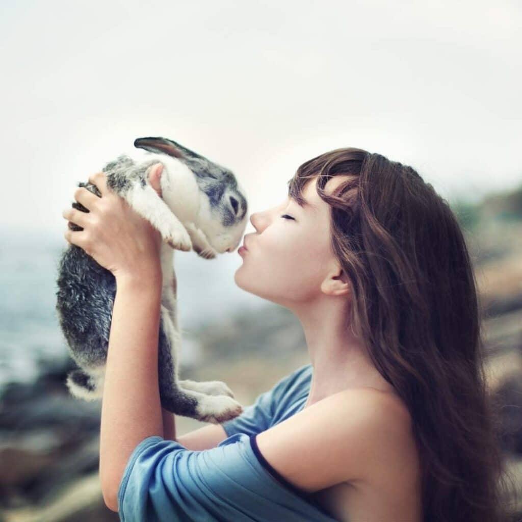 Photo of woman with a rabbit - as a Goddess Ostara