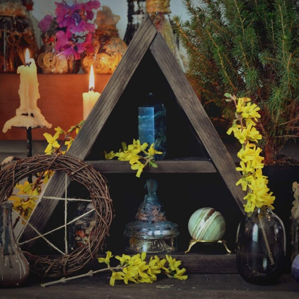 photo of a witchcraft or wiccan altar