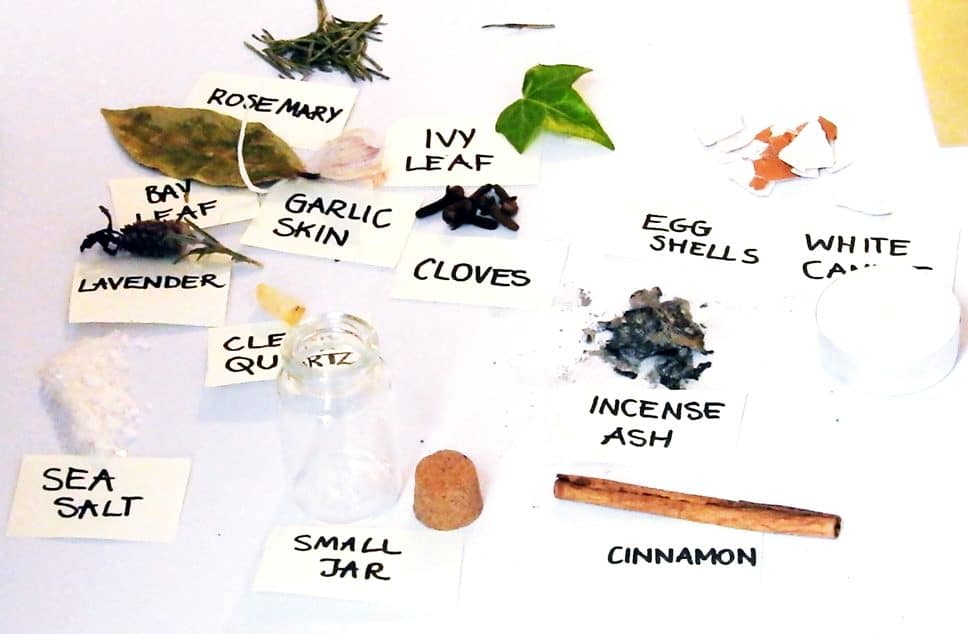 photo of protection spell jar ingredients