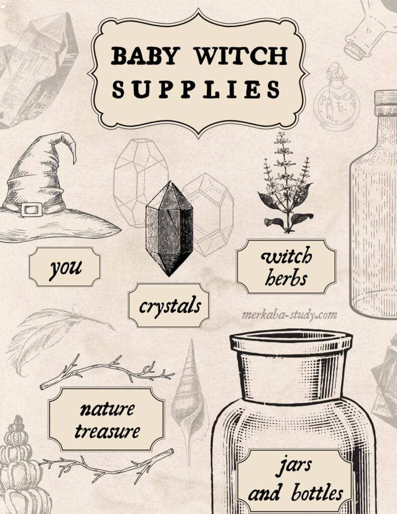 baby witch supplies Book of Shadow Page