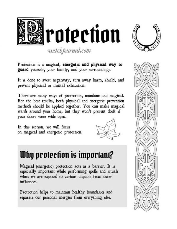 Protection Book of Shadows Pages