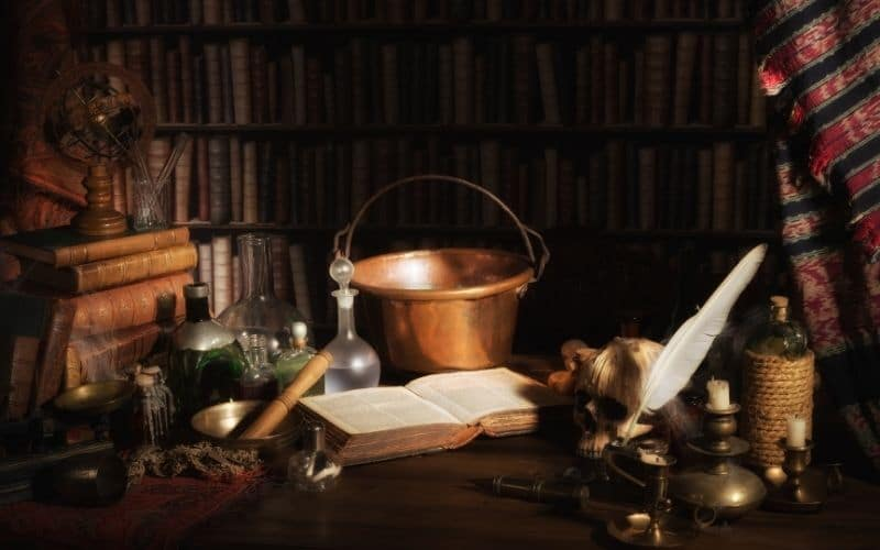 photo of witch altar and cauldron