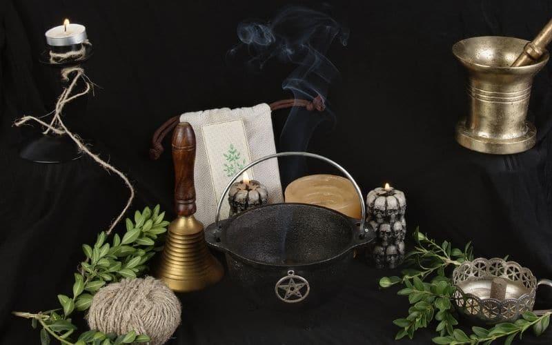 witch ingredients on an altar